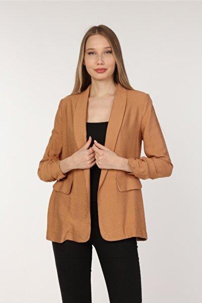 Yare Kadın Taba Şal Yaka Truvakar Kol Vatkalı Ceket