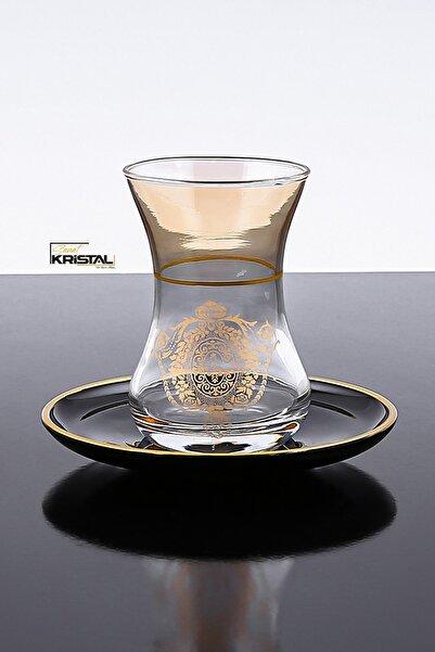SANAT KRİSTAL Desenli Yaldız Kesme Çay Bardağı Seti 12 Parça 6 Kişilik