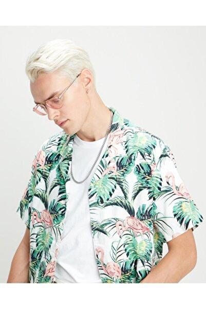 Levi's Erkek Renkli Tasarım Gömlek Cubano Shırt Flamıngo Leaf Prınt Cloud D