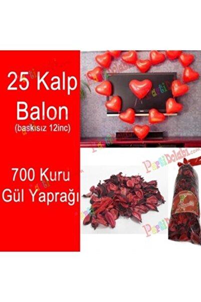TATLI GÜNLER Partiniseç 25 Kalp Balon + 700 Kuru Gül, Kalpli Balon Ve Gül Yaprakları