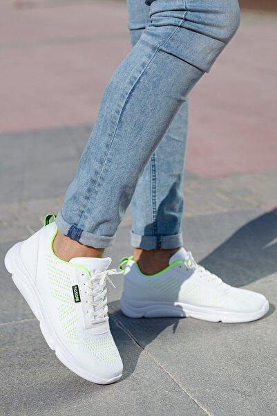MUGGO Unisex Beyaz Yeşil Sneakers Ayakkabı Svt17