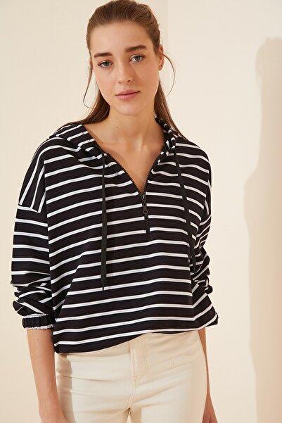 Happiness İst. Kadın Siyah Fermuarlı Kapüşonlu Mevsimlik Sweatshirt ZV00137