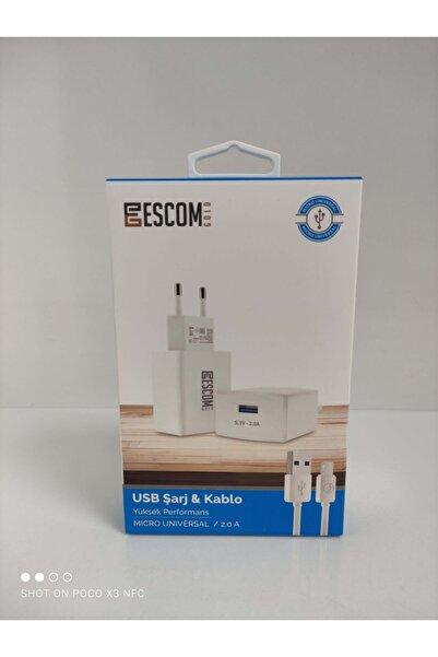 Escom Micro Usb Kablo Ve Adaptör Set Hızlı Sarj Destekli 5.3v 2.0a