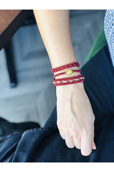 ebby handmade Makrome Ara Aparat Detaylı Üçlü Bileklik Seti