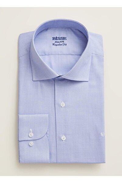Bisse Erkek Mavi Regular Fit Düz Italyan Yaka Gömlek
