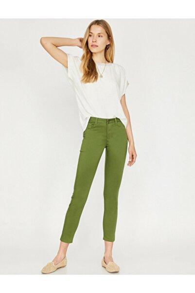 Koton Kadın Haki Renk Dar Kesim Pantolon