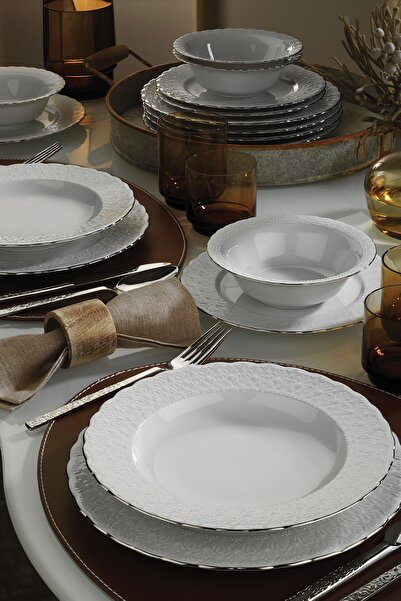 Kütahya Porselen Beyaz Aris 24 Parça Yemek Seti