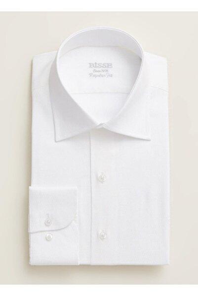 Bisse Erkek Beyaz Regular Fit Armürlü Klasik Gömlek