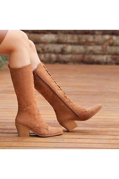 Ayakkabı Delisiyim Kadın Taba Rengi Önden Bağcıklı Sivri Burun Çizme