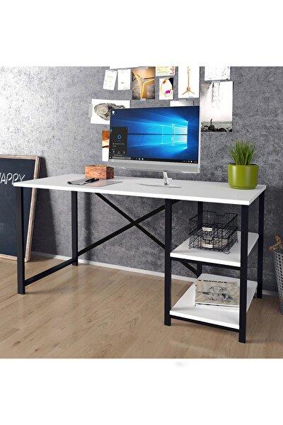 Morpanya Çalışma Masası Metal Bilgisayar Laptop Masası 2 Raflı Çalışma Ofis Masası Beyaz