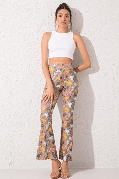 BSL Fashion Kadın Sarı İspanyol Paça Pantolon