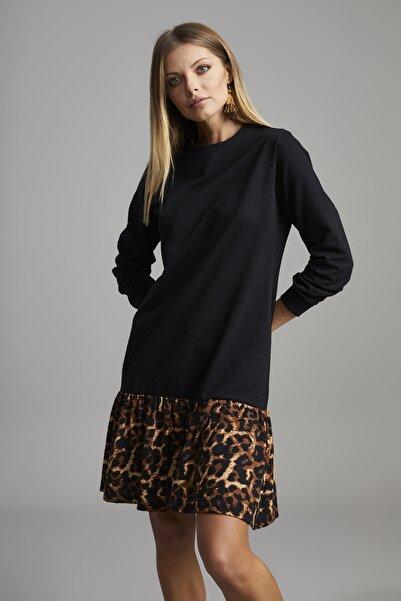 ELBİSENN Kadın Siyah Eteği Leopar Desen Spor Elbise
