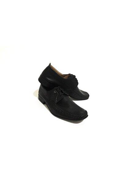 Erdem Siyah Bağcıklı Kauçuk Taban Erkek Klasik Ayakkabı