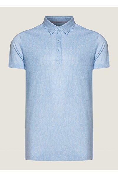 Bisse Erkek Mavi Slim Fit Desenli Polo Yaka T-shirt