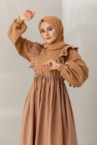 Meri Store Triko Detaylı Fırfırlı Vizon Elbise