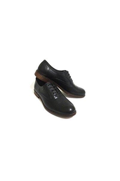 Erdem Siyah Bağcıklı Lazer Desenli Hakiki Deri Erkek Günlük Casual Ayakkabı