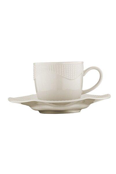 Kütahya Porselen 12 Parça 6 Kişilik Milena Krem Kahve Fincan Takımı