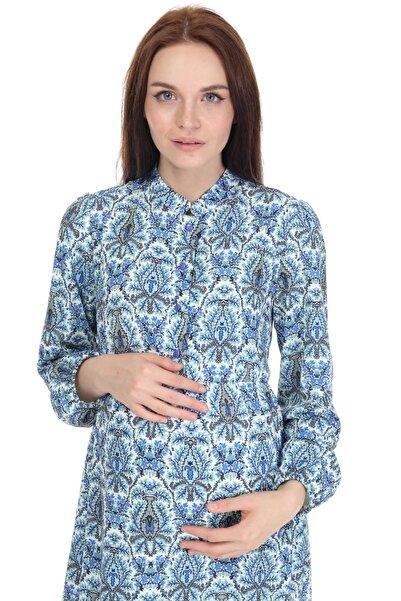 Entarim Kadın Mavi Desenli Hamile Elbisesi 5085m-1