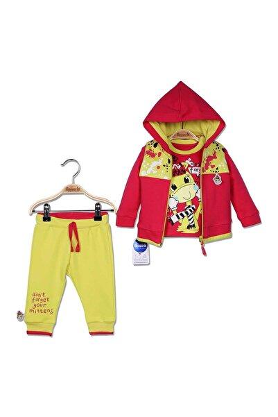 Miniworld Kız Bebek Pembe Sarı Yelekli Sweatshirt Pantolon 3'lü Takım 9-24 Ay 14799