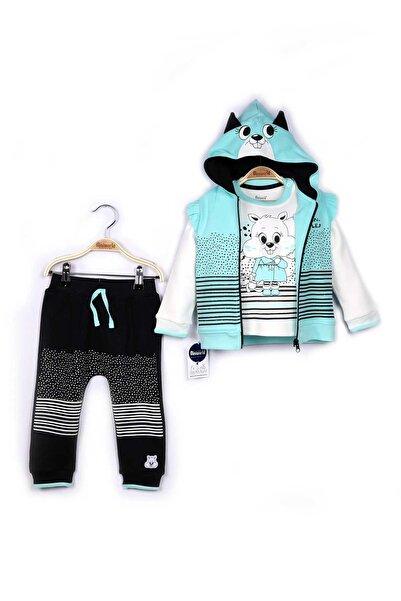 Miniworld Kız Bebek Turkuaz Yelek Sweatshirt Pantolon 3'lü Takım 9-24 Ay 14796