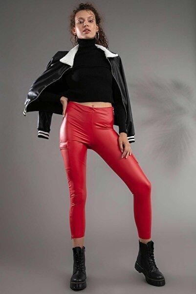 Y-London Kadın Kırmızı Kargo Cepli Yandan Fermuarlı Deri Tayt 10417