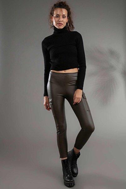 Y-London Kadın Kahverengi Kargo Cepli Yandan Fermuarlı Deri Tayt 10417