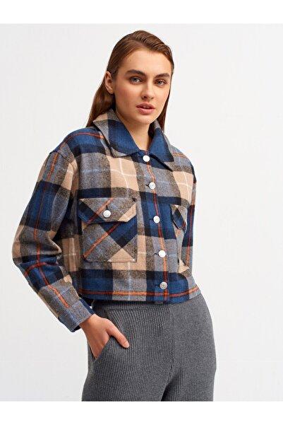 Dilvin Kadın Lacivert Ekoseli Crop Gömlek 6893