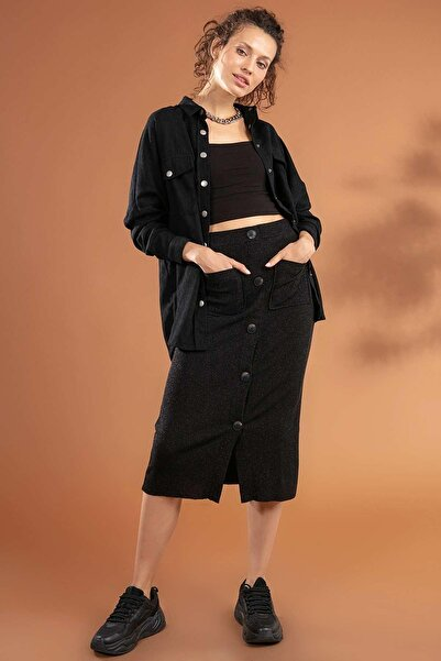 Y-London Kadın Siyah Cepli Beli Lastikli Önü Düğmeli Simli Triko Etek 39015