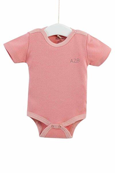 Aziz Bebe Unisex Bebek Pembe Çıtçıtlı Kısa Kollu Badi 0-12 Ay 1651