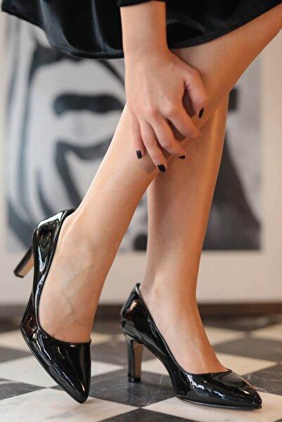 Mio Gusto Lita Siyah Rugan Topuklu Ayakkabı