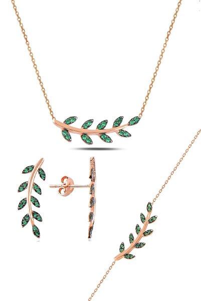 Söğütlü Silver Gümüş rose yeşil  taşlı yaprak  üçlü set