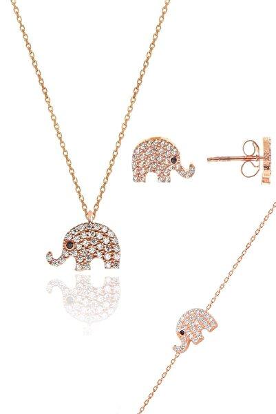 Söğütlü Silver Gümüş rose zirkon taşlı fil kolye bileklik ve küpe gümüş üçlü set