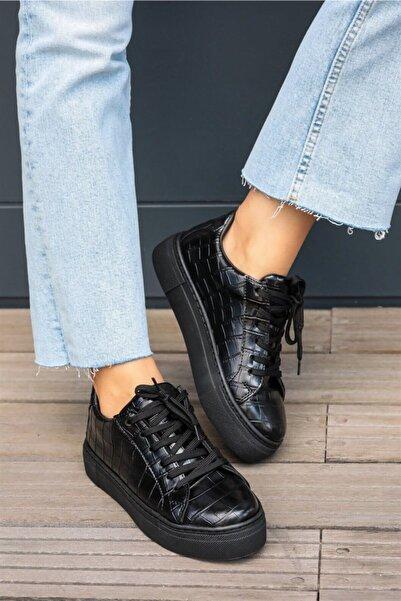 Mio Gusto Cameron Siyah Krokodil Sneaker