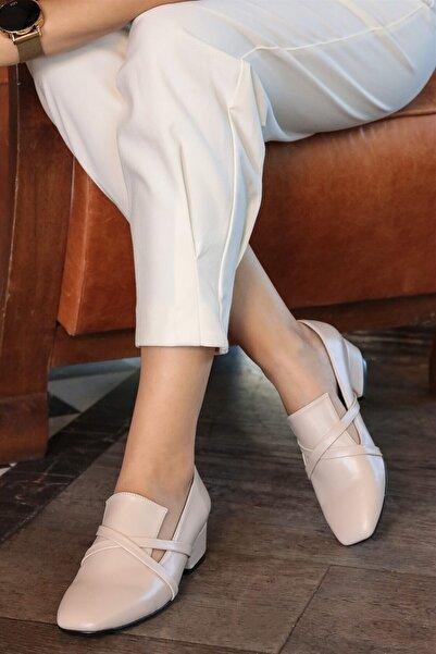 Mio Gusto Doris Ten Çapraz Bantlı Topuklu Ayakkabı