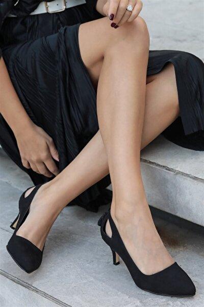 Mio Gusto Drop Siyah Süet Topuklu Ayakkabı