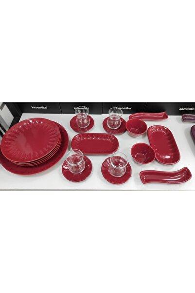 Keramika 19 Parça 4 Kişilik Carmen Kırmızı Kahvaltı Takımı