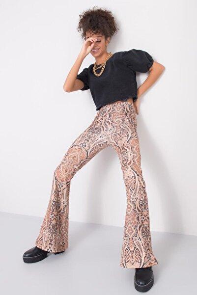 BSL Fashion Kadın Bej İspanyol Paça Yüksek Bel Pantolon