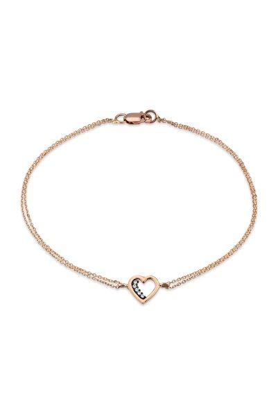Lizay Pırlanta Kadın Kalp Taşlı Zincir Bileklik