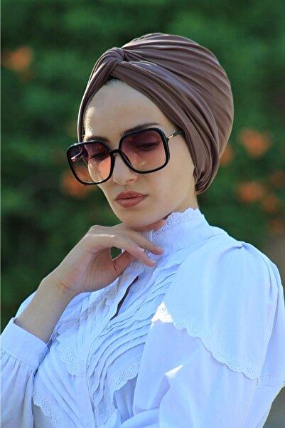Sahra Şal Dünyası Dolama Bone Koyu Vizyon Hazır Model