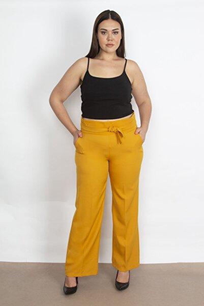 Şans Kadın Safran Beli Süs Bağlamalı Pantolon 65N20260