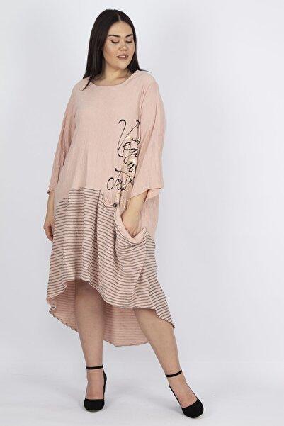Şans Kadın Pudra Bürümcük Kumaş Ön Detaylı Elbise 65N20934
