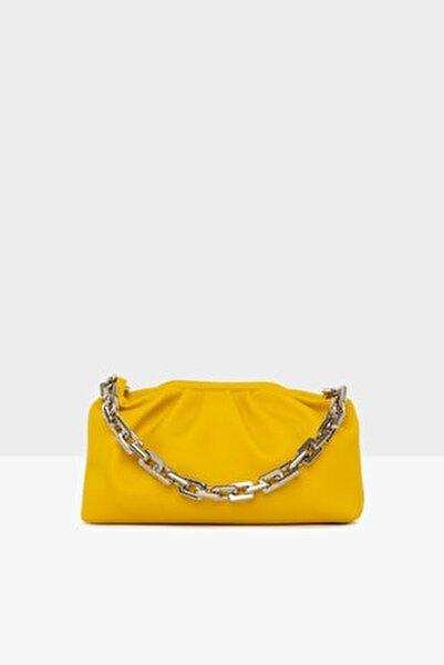 Kadın Sarı Zincirli Burslu  Omuz Çanta