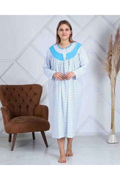 Ars Kadın Mavi Çiçekli Uzun Kol Gecelik