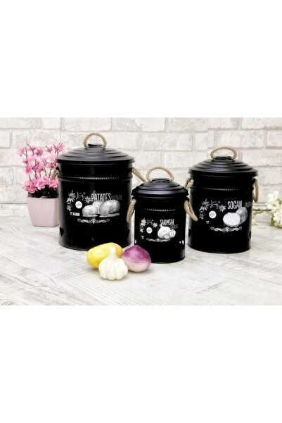 SHADDY GOODS Siyah 3'lü Patates/soğan/sarımsak Kova Seti