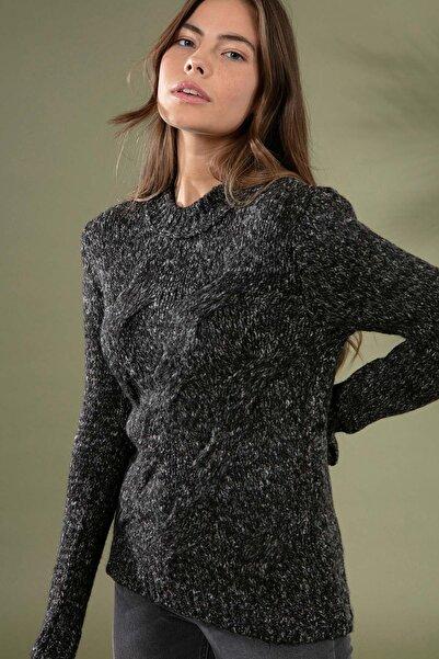 Y-London Kadın Antrasit Örgü Desen Uzun Kol Triko Kazak 3955 Y19W143-3955-1
