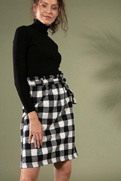 Y-London Kadın Siyah Beyaz Ekose Desen Beli Lastikli Oduncu Dizaltı Etek 4202 Y19W123-4202