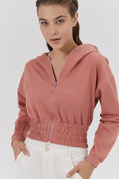 Y-London Kadın Gül Kurusu Kapşonlu Fermuarlı Crop Sweatshirt Y20W185-1295