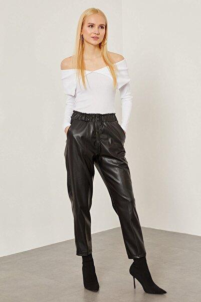 Arma Life Kadın Siyah Çıtçıt Süslü Büzgülü Deri Pantolon -