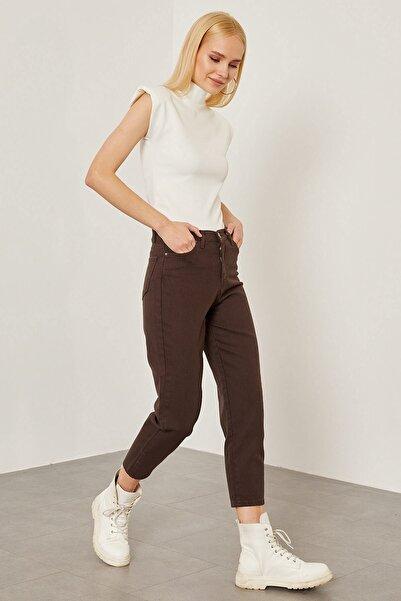 Arma Life Kadın Kahverengi Gabardin Düz Mom Pantolon
