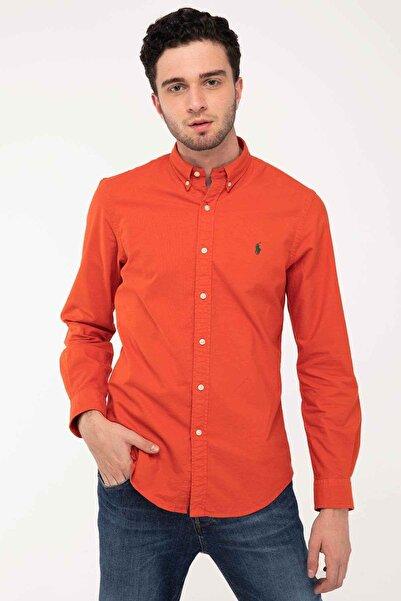 Polo Ralph Lauren Erkek Nar Çiçeği Slim Fit Oxford Gömlek